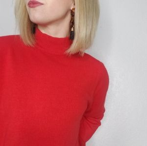 Vintage Red Mock Neck Cozy Long Sleeve Sweater Top